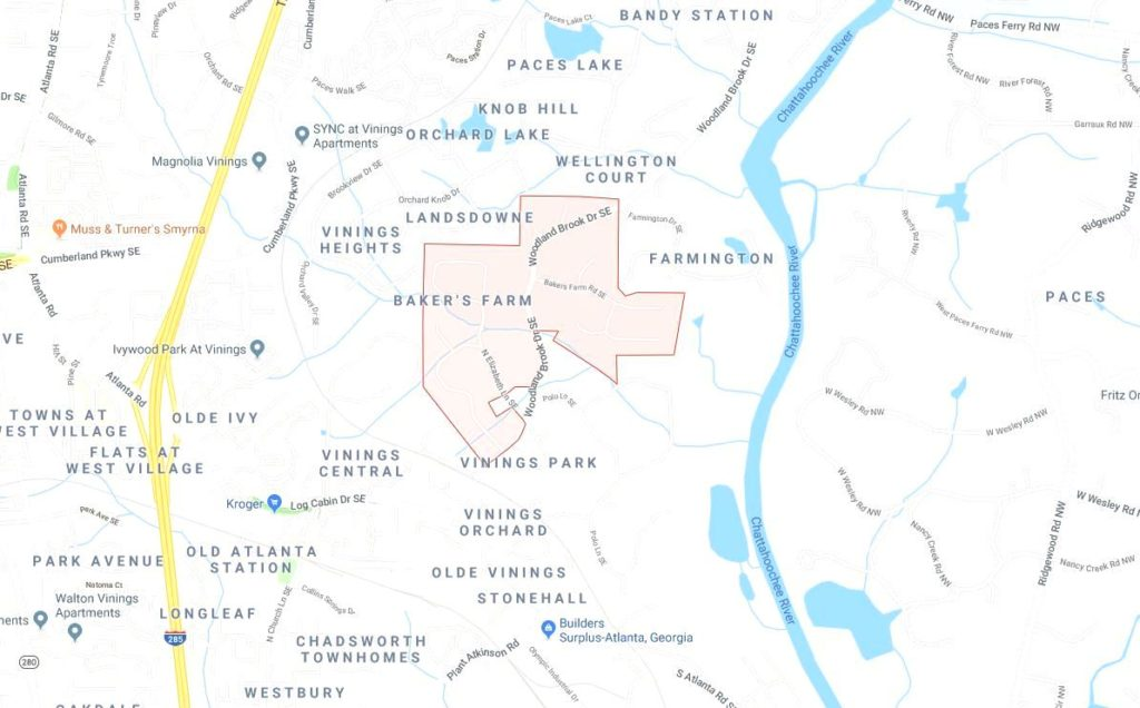 Vinings Atlanta Map Location Bakers Farm Community